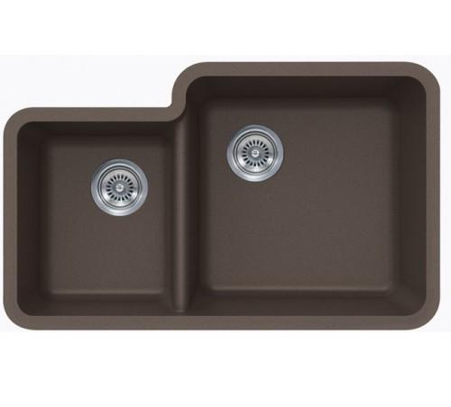 Mocha Quartz Composite 40/60 Double Bowl Undermount Kitchen Sink - 33 x 20-13/16 x 7-3/4 | 9-7/16 Inch
