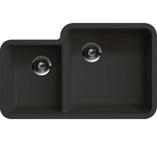 Black Quartz Composite 40/60 Double Bowl Undermount Kitchen Sink - 33 x 20-13/16 x 7-3/4 | 9-7/16 Inch