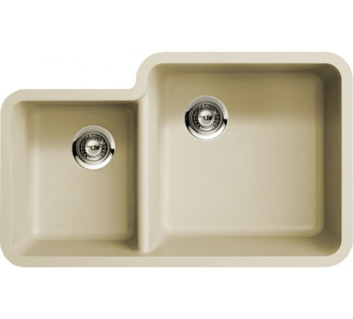 Beige Quartz Composite 40/60 Double Bowl Undermount Kitchen Sink - 33 x 20-13/16 x 7-3/4 | 9-7/16 Inch