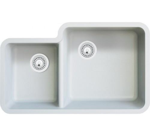 White Quartz Composite 40/60 Double Bowl Undermount Kitchen Sink - 33 x 20-13/16 x 7-3/4 | 9-7/16 Inch