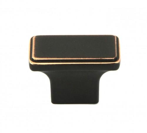 1-1/2 inch Square Cabinet Pull Knob in Oil Rubbed Bronze Finish