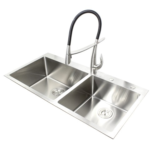 43 Inch Topmount / Drop-In Stainless Steel Double Bowl Kitchen Sink 15mm Radius Design