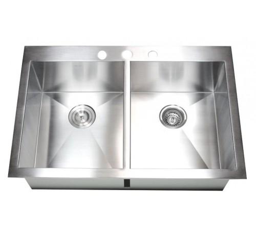 33 Inch Top-Mount / Drop-In Stainless Steel Double Bowl Kitchen Sink Zero Radius Design