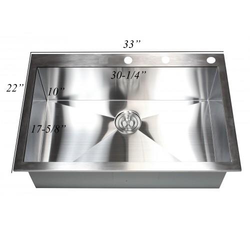 33 Inch Top-Mount / Drop-In Stainless Steel Single Bowl Kitchen Sink Zero Radius Design