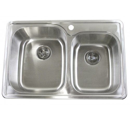 33 Inch Top-Mount / Drop-In Stainless Steel Double Bowl Kitchen Sink - 18 Gauge