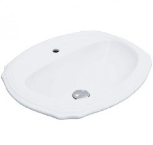 Porcelain Ceramic Vanity Drop In Bathroom Vessel Sink - 23 x 19-3/8 x 6-3/4 Inch