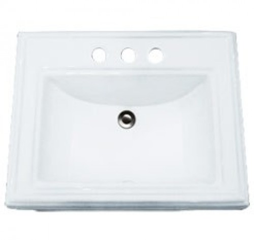 Porcelain Ceramic Vanity Drop In Bathroom Vessel Sink - 23 x 18-3/16 x 6-7/8 Inch