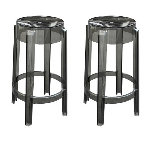 Set Of 2 Modern Contemporary Design Kitchen Counter Stool Crystal Smoke Transparent
