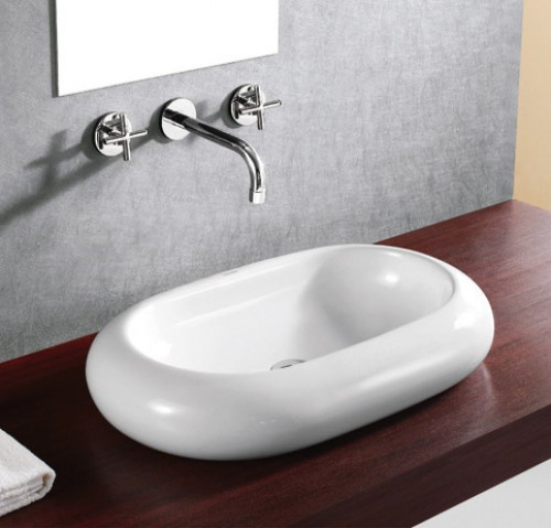 Rounded Edge Oval Porcelain Ceramic Countertop Bathroom Vessel Sink - 25 x 16 Inch