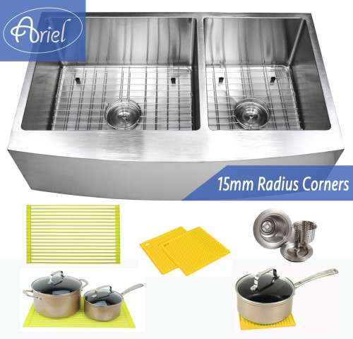 36 Inch Stainless Steel Curved Front Farm Apron 60/40 Double Bowl Stainless Steel Kitchen Sink Premium Package 15mm Radius Design