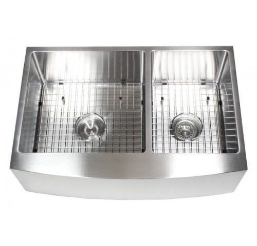 33 Inch Curved Front Farm Apron 60/40 Double Bowl Stainless Steel Kitchen Sink Premium Package 15mm Radius Design
