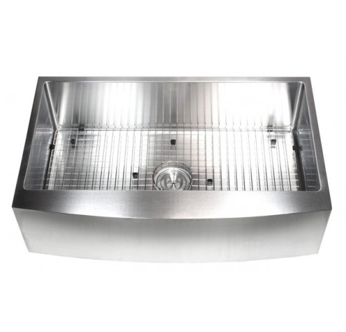 36 Inch Stainless Steel Curved Front Farm Apron Single Bowl Stainless Steel Kitchen Sink Premium Package 15mm Radius Design
