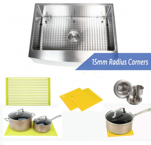 30 Inch 16 Gauge Curved Front Apron Single Bowl Stainless Steel Kitchen Sink Premium Package 15mm Radius Design
