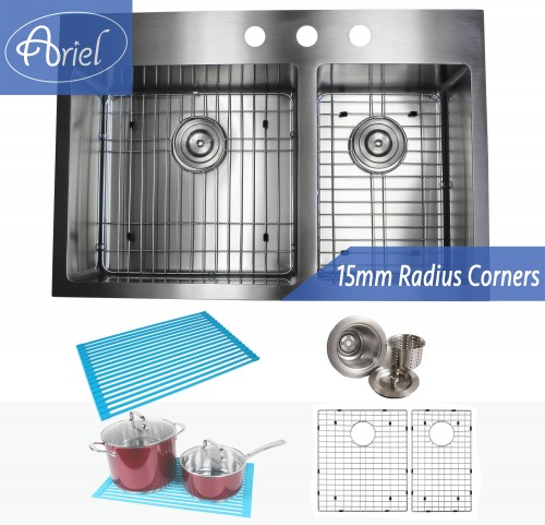 33 Inch Top-Mount / Drop-In Stainless Steel 60/40 Double Bowl Kitchen Sink Premium Package 15mm Radius Design