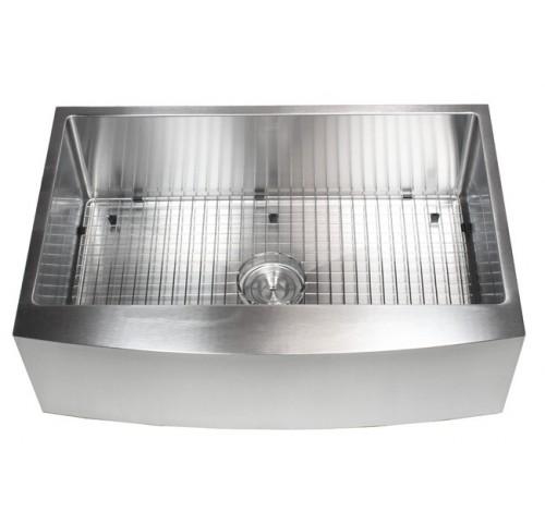 Ariel 33 Inch 16 Gauge Curved Front Apron Single Bowl Stainless Steel Kitchen Sink Premium Package 15mm Radius Design