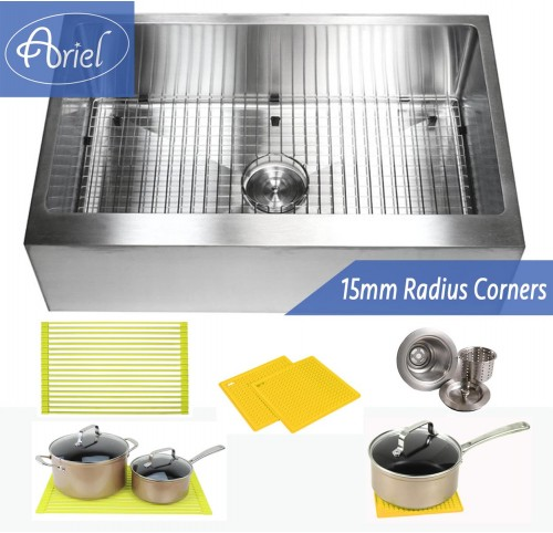 33 Inch Stainless Steel Flat Front Farm Apron Single Bowl Stainless Steel Kitchen Sink Premium Package 15mm Radius Design
