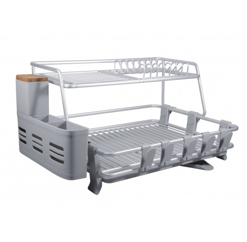 CozyBlock Aluminum 2-tier Dish Drying Rack with Utensil & Wooden Cutlery Holder – Rust Proof Kitchen Countertop Dish Rack with Extra Large Drainboard Set – Bonus Drinkware Clips