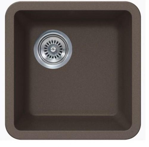 Sinful Mocha Quartz Composite Undermount Kitchen Sink - 14-7/8 x 14-7/8 x 7 Inch
