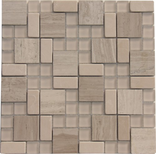Matt Glass with White and Gray Marble Mosaic Tile Mesh Backed Sheet
