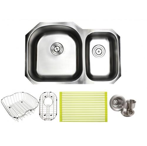 Pearl 32 Inch Premium 16 Gauge Stainless Steel Undermount 70/30 D-Bowl Offset Kitchen Sink with FREE ACCESSORIES