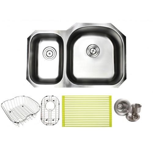 Pearl 32 Inch Premium 16 Gauge Stainless Steel Undermount 30/70 D-Bowl Offset Kitchen Sink with FREE ACCESSORIES