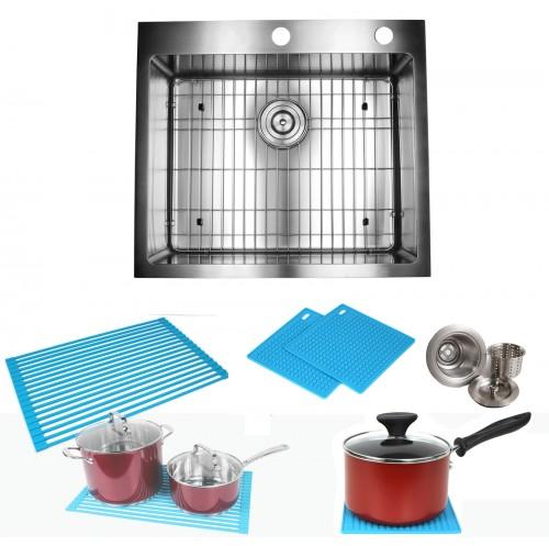 25 Inch Drop-In / Top-Mount Stainless Steel Single Bowl Kitchen Island / Bar Sink Premium Package 15mm Radius Design