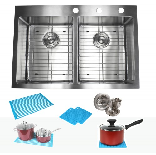 33 Inch Top-Mount / Drop-In Stainless Steel 50/50 Double Bowl Kitchen Sink Premium Package 15mm Radius Design