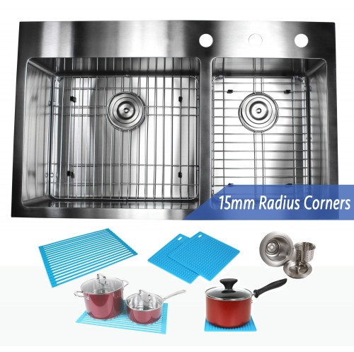 36 Inch Top-Mount / Drop-In Stainless Steel 60/40 Double Bowl Kitchen Sink Premium Package 15mm Radius Design