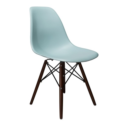 Nature Series Ice Blue DSW Molded Plastic Dining Side Chair Dark Walnut Wood Eiffel Legs