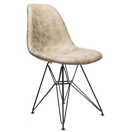 Markle Light Brown Leatherette Fabric Upholstered DSR Dining Side Accent Chair with Black Steel Leg