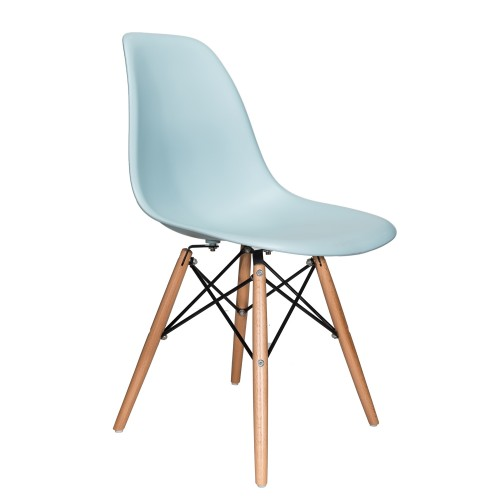 Nature Series Ice Blue DSW Molded Plastic Dining Side Chair Natural Beech Wood Eiffel Leg