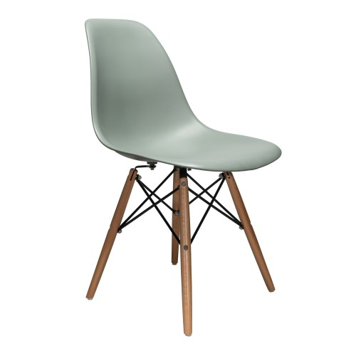 Nature Series Moss Gray DSW Molded Plastic Dining Side Chair Natural Beech Wood Eiffel Leg