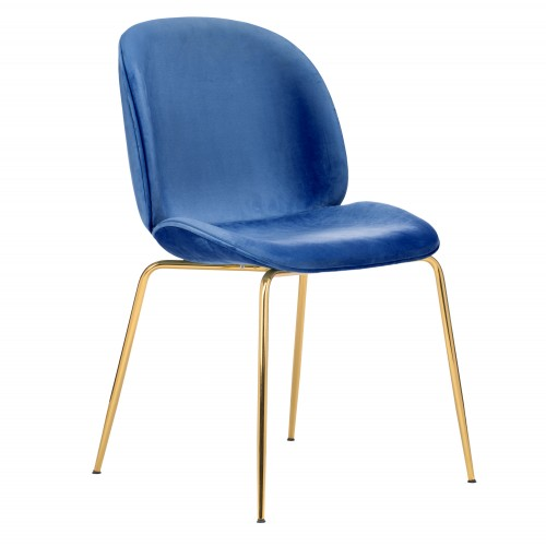 CozyBlock Pony Series Glamorous Velvet Upholstered Side / Dining Accent Chair in Royal Blue with Polished Gold Chrome Legs