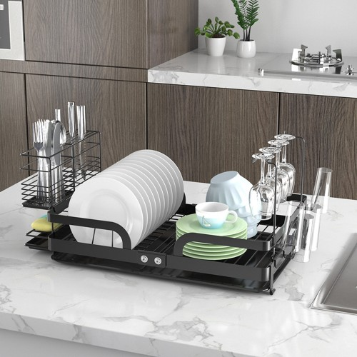 CozyBlock Steel Foldable Dish Drying Rack with Utensil, Cutlery Holder & Glass Hanger – Rust Proof Kitchen Countertop Dish Rack with Extra Large Drainboard Set – Bonus Drinkware Clips