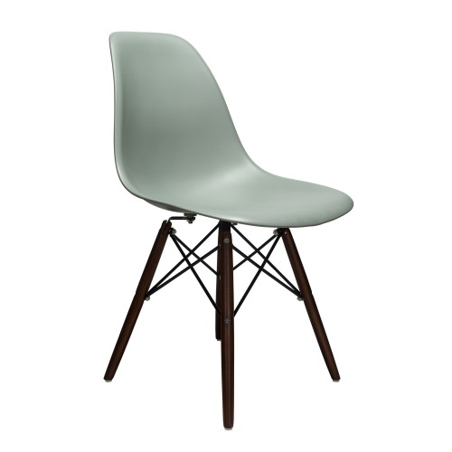 Nature Series Moss Gray DSW Molded Plastic Dining Side Chair Dark Walnut Wood Eiffel Leg