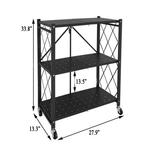 CozyBlock Foldable Storage Shelves with Wheels, Black Metal Wire Rack, Easy Moving Shelf, Storage Organizer for Kitchen, Bathroom, Garage, Outdoor