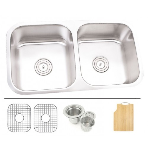 32 Inch Stainless Steel Undermount 50/50 Double Bowl Kitchen Sink - 16 Gauge FREE ACCESSORIES