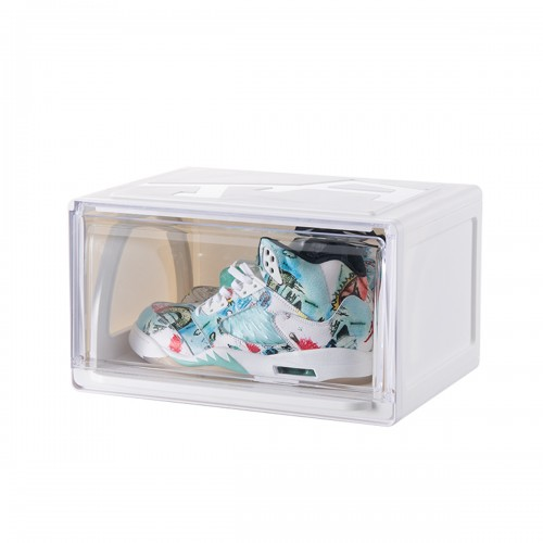 4 x CozyBlock Stackable Shoe Box, Shoe Drawer, Side Open Door with Magnetic Stackable Breathable Foldable Storage, Smart Pull-out Sliding Shoe Container, Side View Sneakers Display Wall, Sneakers Display Organizer