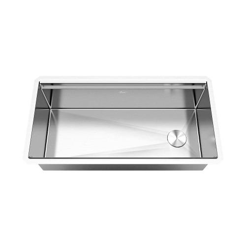 Ariel Enthous Workstation 36 Inch Undermount 16 Gauge Single Bowl Stainless Steel Kitchen Sink w/ Integrated Ledge, 15mm Tight Radius, Premium Accessories – Dish Rack, Colander, Cutting-board, Grid