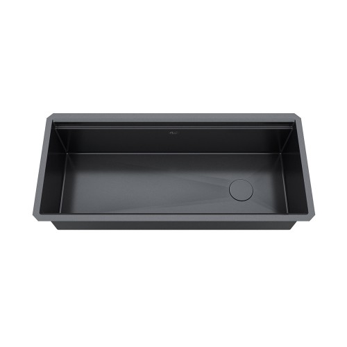 Ariel Enthous Workstation 42 Inch Undermount 16 Gauge Single Bowl Nano Black Stainless Steel Kitchen Sink w/ Integrated Ledge, 15mm Tight Radius, Premium Accessories Bundle