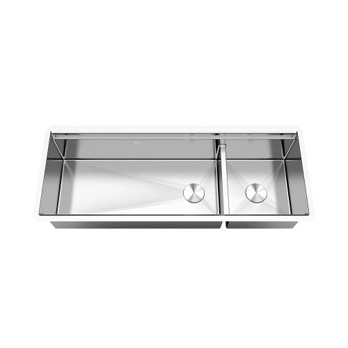 Ariel Enthous Workstation 48 Inch Undermount 16 Gauge Double Bowl Stainless Steel Kitchen Sink w/ Integrated Ledge, 15mm Tight Radius, Premium Accessories – Dish Rack, Colander, Cutting-board, Grid