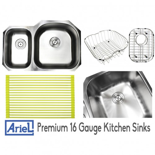 Ariel Pearl 32 Inch Premium 16 Gauge Stainless Steel Undermount 30/70 D-Bowl Offset Kitchen Sink with FREE ACCESSORIES