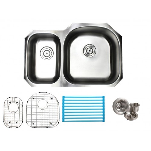 32 Inch Stainless Steel Undermount Double 40/60 D-Bowl Offset Kitchen Sink - 16 Gauge FREE ACCESSORIES