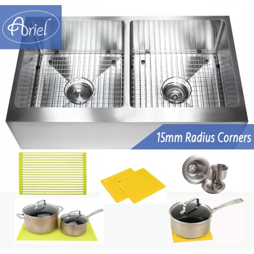 36 Inch Stainless Steel Flat Front Farm Apron 50/50 Double Bowl Stainless Steel Kitchen Sink Premium Package 15mm Radius Design