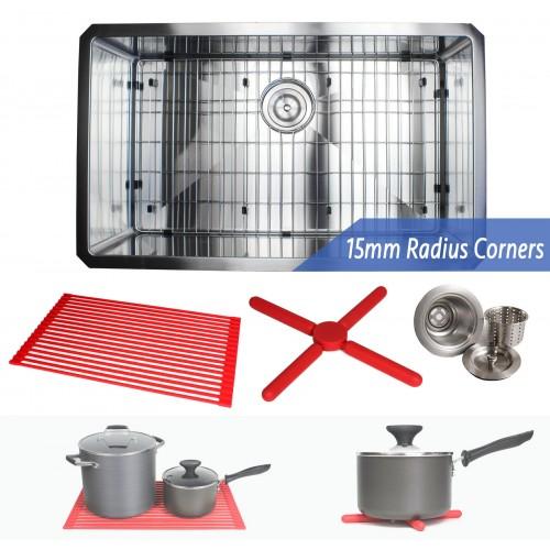 30 Inch 16 Gauge Undermount Single Bowl Stainless Steel Sink Premium Package 15mm Radius Design