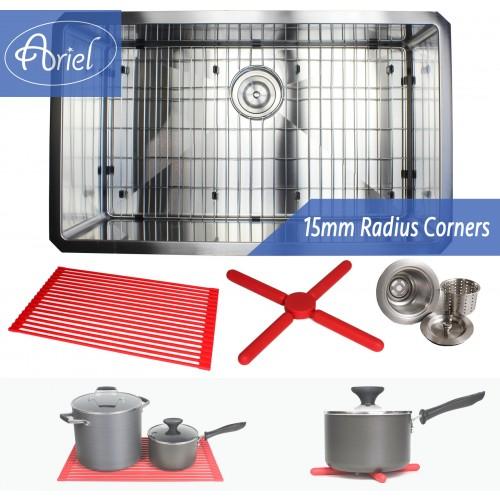Ariel 30 Inch 16 Gauge Undermount Single Bowl Stainless Steel Sink Premium Package 15mm Radius Design