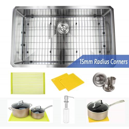 32 Inch 16 Gauge Undermount Single Bowl Stainless Steel Sink Premium Package 15mm Radius Design