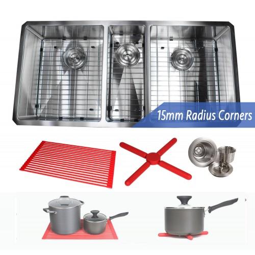 42 Inch 16 Gauge Undermount Triple Bowl Stainless Steel Sink Premium Package 15mm Radius Design