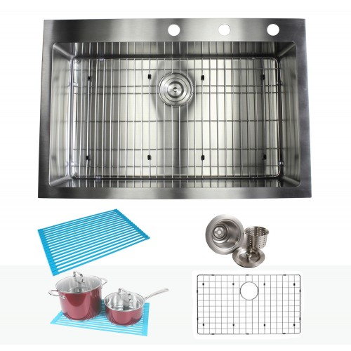 33 Inch Top-Mount / Drop-In Stainless Steel Single Bowl Kitchen Sink Premium Package 15mm Radius Design