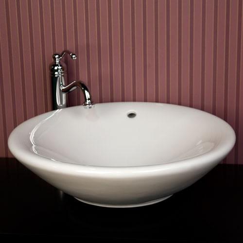 Round Porcelain Ceramic Countertop Bathroom Vessel Sink - 21 x 6-1/4 Inch
